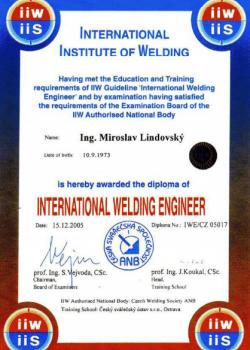 certifikátů CEWE, IWE/EWE, IWI-C a Std-101 APC